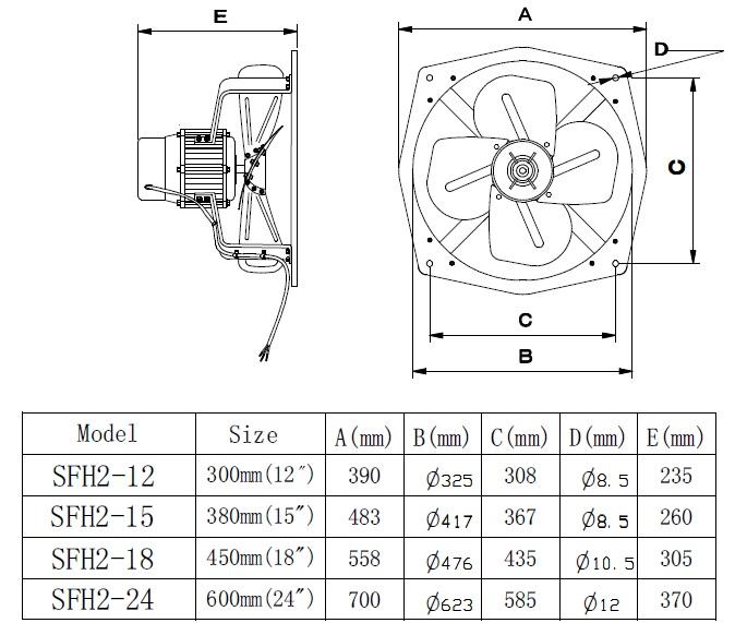 SF2 exhaust fan dimensions