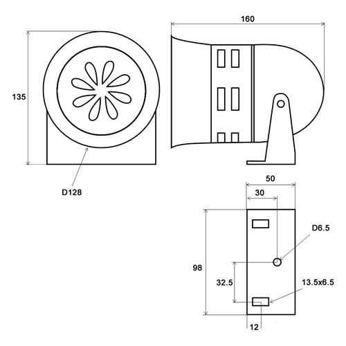 ZR-128 dimensions
