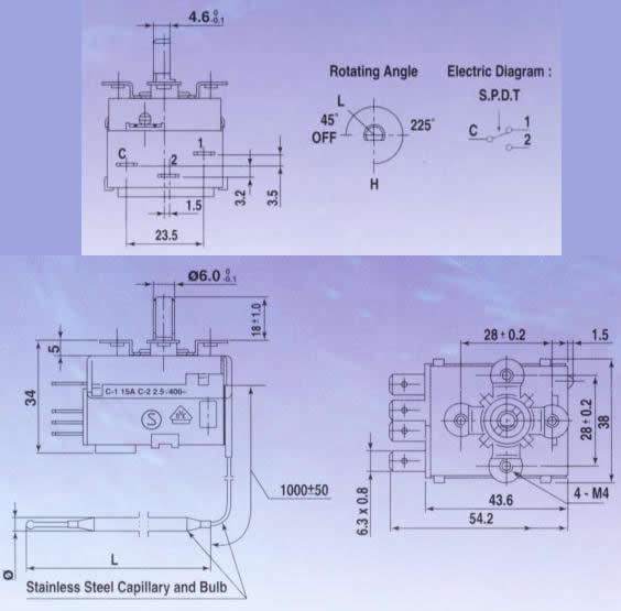 FST thermostat dimensions